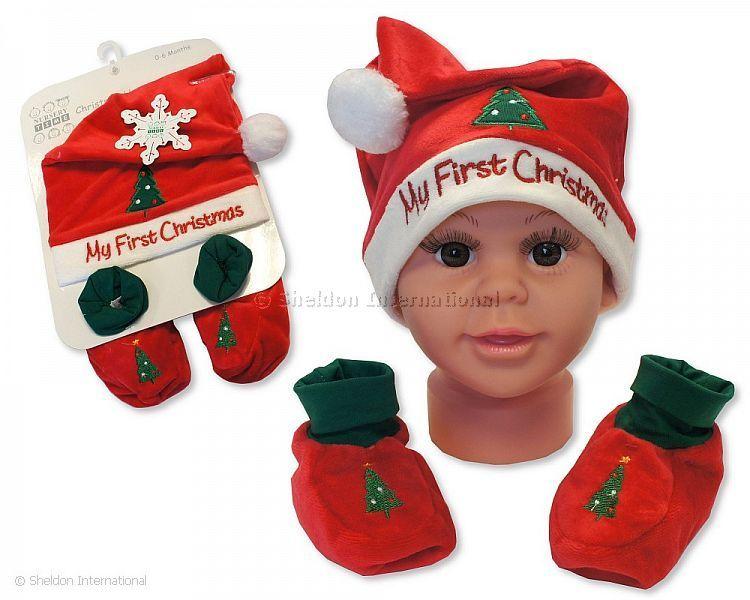 6dbc859aedcc2 Bonnet et chaussons ensemble bébé - Mon Premier Noël - Rouge - Grossiste et  Fournisseur Cliquez pour agrandir