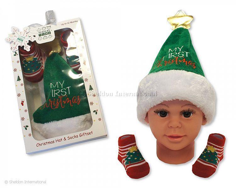 8cdfda28e8801 Bonnet et chaussettes ensemble bébé garçon - Mon Premier Noël - Grossiste et  Fournisseur Cliquez pour agrandir