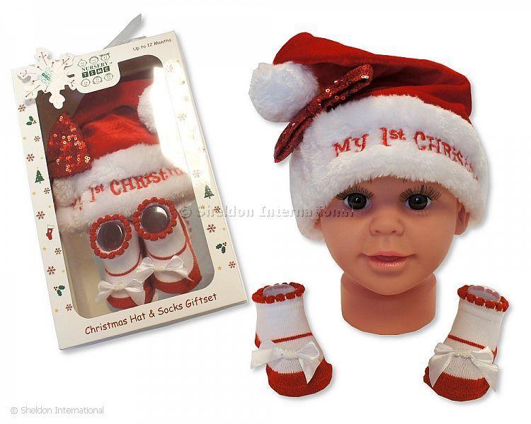 64e49b05aea5d Bonnet et chaussettes ensemble bébé fille - Mon Premier Noël - Grossiste et  Fournisseur Cliquez pour agrandir